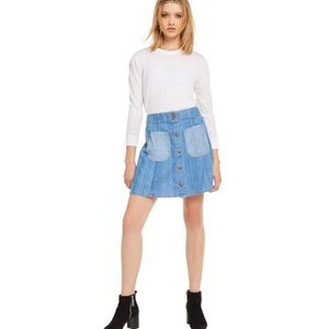 NWT Wildfox Frankie Denim Skirt Mini Buttons